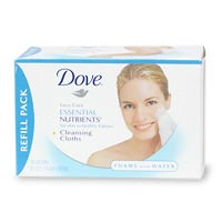Dove Essential Nutrients Cleansing Cloths Refill, Regular