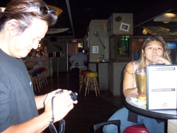 Drinking at the bar at the Honolulu Airport