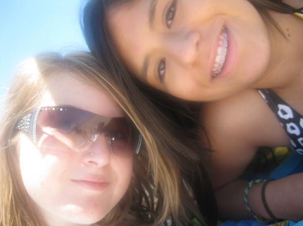 Me and my friend at the beach. Fun dayy(: