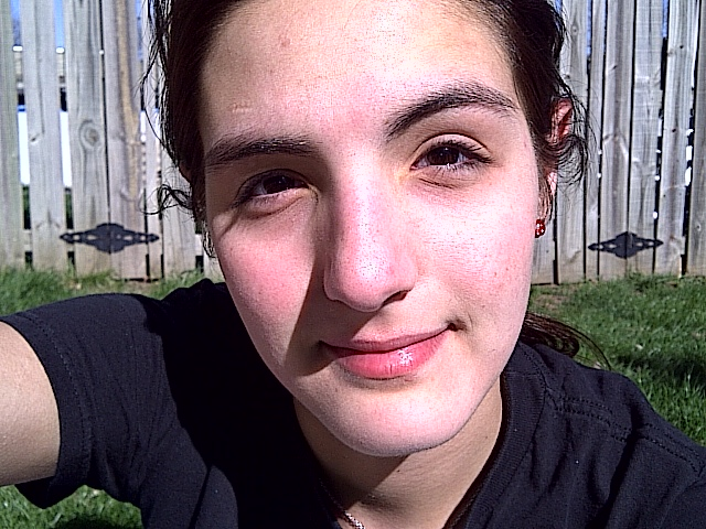freshly cleansed face, no makeup. in the SUN!
