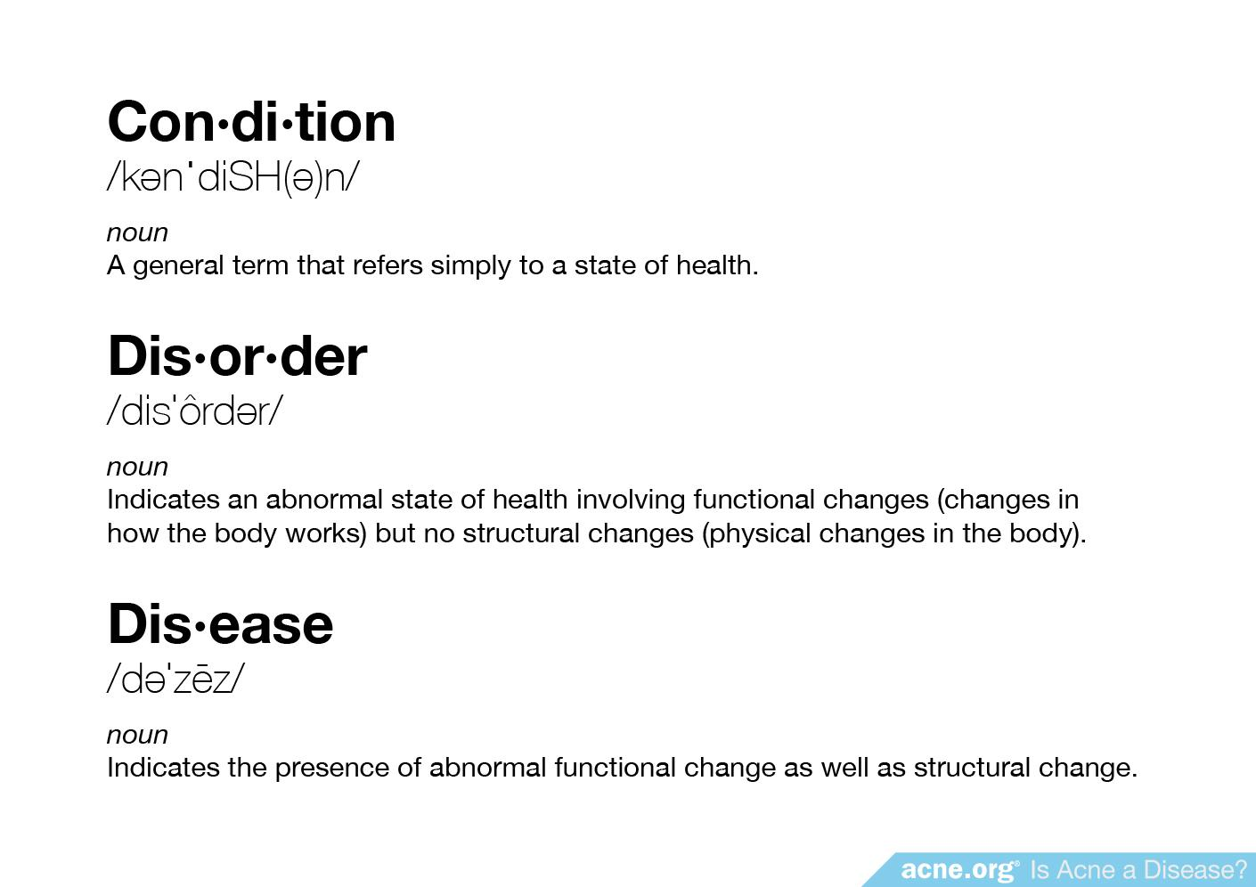 Definitions of Condition, Order, Disease