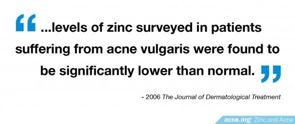 Levels of Zinc in Acne Patients Lower Than Normal