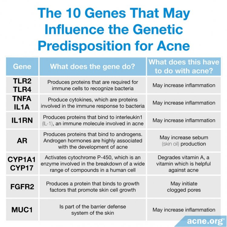 The 10 Genes That May Influence the Genetic Predisposition for Acne