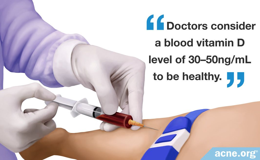 Doctors consider a blood vitamin D level of 30-50ng/mL to be healthy.